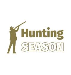 Hunting season logo template with man vector