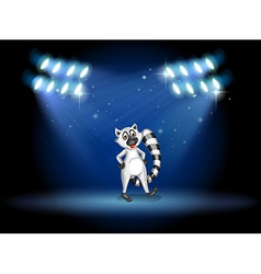 A lemur dancing at the stage with spotlights vector