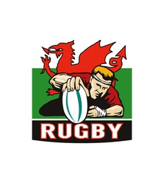 Rugby player scoring try wales flag vector