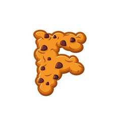F letter cookies cookie font oatmeal biscuit vector