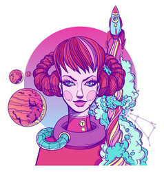 Girl symbolizes the zodiac sign aries pastel goth vector