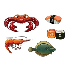 Seafood cartoon characters vector