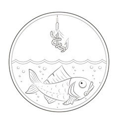 Fishing fish in water and vector