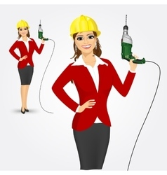 Woman architect with drill vector