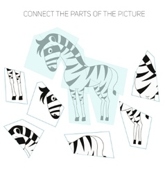 Puzzle game for chldren zebra vector