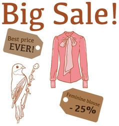 Big sale with bird feminine blouse vector