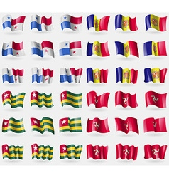 Panama andorra togo isle of man set of 36 flags of vector