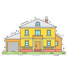 Modern house in thin line style vector