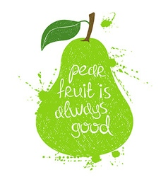 Green pear fruit silhouette vector