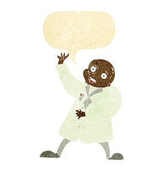 Cartoon mad scientist with speech bubble vector