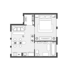 Apartment plan witch furniture vector