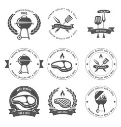 barbecue party and grill party emblems vector image