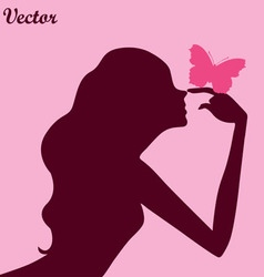 beauty girl silhouette with butterfly vector image vector image