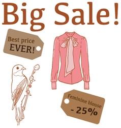 Big sale with bird feminine blouse vector