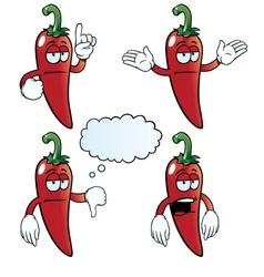 Bored chili pepper set vector