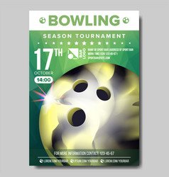 Bowling poster sport event announcement vector