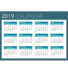 Calendar for 2019 Week Starts Sunday Simple vector image vector image