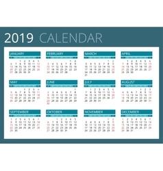 Calendar for 2019 week starts sunday simple vector