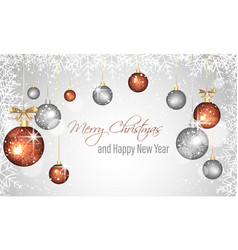 christmas and new year greeting card with vector image