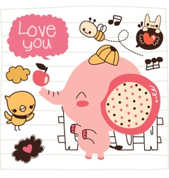 Cute pink elephant doodle vector