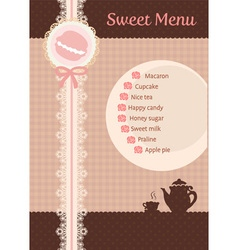 Cute sweet brown lace tea and confection menu vector