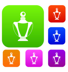 elegant woman perfume bottle set color collection vector image vector image