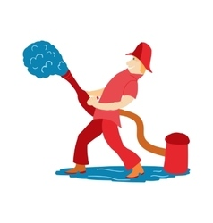 Fireman pours water from a hydrant in cartoon vector