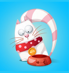 funny cute cartoon character cats animal eats vector image vector image
