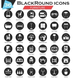 Furniture circle white black icon set vector image