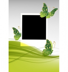 green background with beautiful butterflies vector image