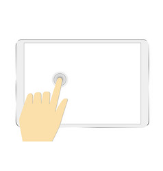 hand holding tablet touchscreen isolated on white vector image