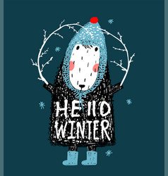 hello winter cute funny sheep in hat design vector image