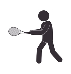 human silhouette playing tennis vector image