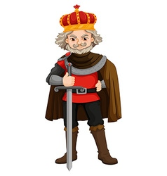 King with crown and sword vector image vector image