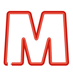 letter m plastic tube icon cartoon style vector image vector image