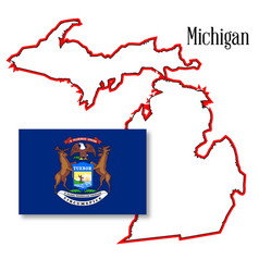 Michigan state map and flag vector