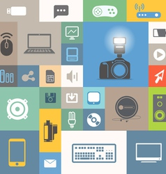 Modern communication icons on color tiles vector image vector image