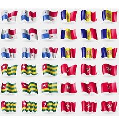 Panama andorra togo isle of man set of 36 flags of vector