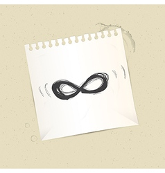 Paper infinity symbol on paper sheet vector