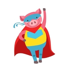 Pig Animal Dressed As Superhero With A Cape Comic vector image vector image