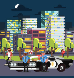 Police chilling on work vector