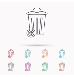 Recycle bin icon trash container sign vector
