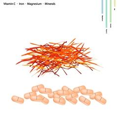 Saffron thread with vitamin c iron and magnesium vector