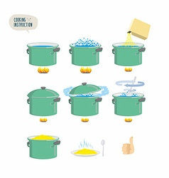 Set icons for instruction Infographics Cooking vector image