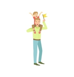 Son sitting on his fathers neck vector