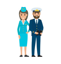 stewardess in cap and sea captain with binoculars vector image