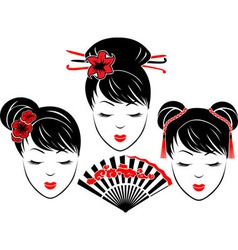 Three portraits of Asian girls vector image vector image
