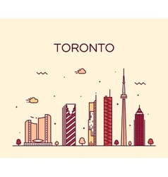 Toronto skyline trendy linear vector