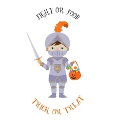 Treak or treat card with cute knight vector image vector image