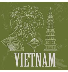 Vietnam landmarks retro styled image vector